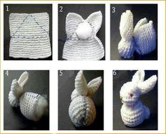 You will love this Knitted Bunny From A Square Pattern and we have a video tutorial that will show you how. Check out all the cute ideas now. Crochet Diy, Crochet Hats, Crochet Rabbit, Knitting Projects, Crochet Projects, Knitting Patterns, Crochet Patterns, Knitted Bunnies, Knitted Animals