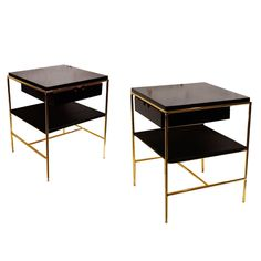 Limited Edition Brass and Black Lacquer Night Stands by Loft Thirteen