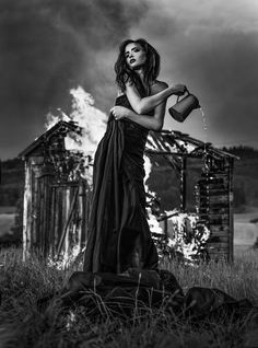 Burning House by Joachim Bergauer Photography Surrealism Photography, Art Photography, Fashion Photography, Beautiful Images, Beautiful Women, Burning House, Black House, White Fashion, Wonder Woman