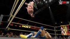Adrian Neville preforming the Red Arrow in WWE 2K15.