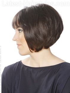 Short Stacked black color Bob Hairstyles With Bangs