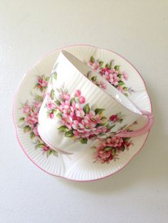 Vintage English Royal Albert Blossom Time Series Apple Blossom Gainsborough Shape Tea Cup and Saucer Tea Party - Ca. 1966 - 1970's