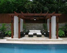Brilliant Pool Design in Your Home: Modern Patio Design Fancy Backyard Pergola Atlanta House ~ HOMESBRO Pool Inspiration