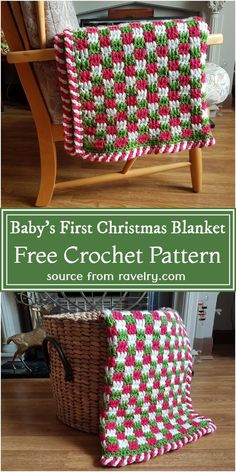 Christmas Crochet Blanket, Christmas Afghan, Baby Blanket Crochet, Crochet Baby, Free Crochet, Holiday Crochet Patterns, Crochet Throw Pattern, Afghan Crochet Patterns, Crocheted Afghans