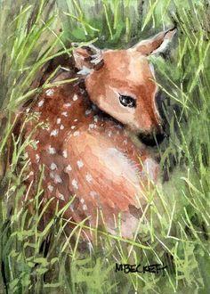 ACEO TW MAR Original Painting Newborn Fawn deer Spring wildlife animals baby  #Impressionism