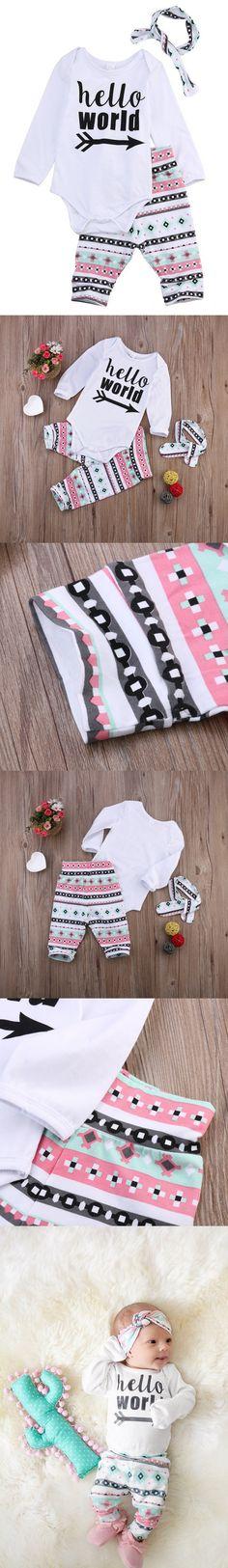 3Pcs/Set!Newborn baby girls clothing sets spring Autumn Long Sleeve Romper +Long Pants+Headband Outfits Clothes Sets