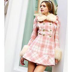 ροζ γυναίκες doll® μόδας καρό μοτίβο λεπτό μάλλινο παλτό – EUR € 121.52