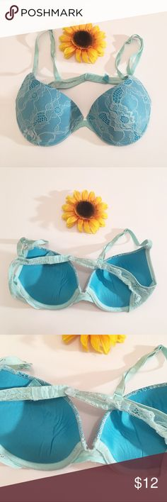 Blue Victoria's Secret sexy little things bra 36b Good used condition VS sexy little things lace bra in a size 36b. Blue, sky blue. Some wearing as shown but not too bad! Still very cute to wear. Victoria's Secret Intimates & Sleepwear Bras