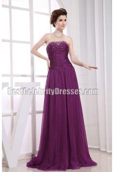 Stunning Purple Beaded Strapless Formal Dress Evening Gown