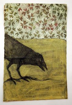 Love this Mustard tinted Crow with the flowery Retro Wall Paper.... artist?