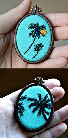 tropical palm trees embroidered necklace