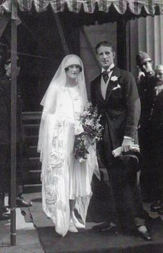 """Lady Alexandra (""""Baba"""") Curzon at her marriage to Edward Dudley (""""Fruity"""") Metcalfe at the Chapel Royal, St. James's Palace, July 21, 1925."""