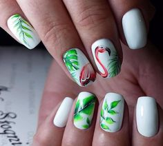 There are a variety of unique nail art designs. Flamingo nail design seems to be the best trend in the current season. Flamingos on white or pink backgrounds are great nail art designs. Of course, Flamingo Nail design is not limited to this, nail art Nail Art Dessin, Tropical Nail Art, Flamingo Nails, Vacation Nails, Nagellack Trends, Party Nails, Halloween Nail Art, Nail Decorations, Cool Nail Designs