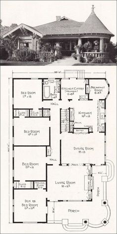 Stillwell - Representative California Homes - No. hybrid Craftsman bungalow and Queen Anne. Floor plan primarily bungalow. Br House, Sims House, Bungalow House Plans, House Floor Plans, The Plan, How To Plan, Building Plans, Building A House, Vintage House Plans
