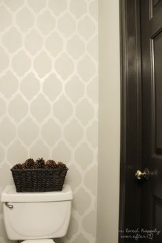 We Lived Happily Ever After: DIY Free Hand Wall Stencil--downstairs bathroom wall