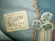 Lucky Brand Denim Handbag Vintage Patch Embriodery Roses Hearts Hobo Ships Free #LuckyBrand #Hobo