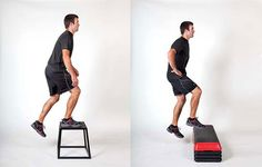 Exercises for Runners: How to prevent shin splints and knee inflammation with box step-ups.
