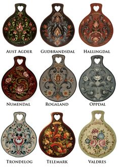 A sampling of Rosemaling styles from various regions in Norway. --- I must note that they screwed up a few of their spellings. It should say Numedal and Trøndelag. by Jo HiLL One Stroke Painting, Tole Painting, Painting On Wood, Norwegian Style, Norwegian Rosemaling, Scandinavian Art, Thinking Day, Painting Techniques, Scrapbooks