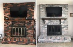 How I updated our fireplace by painting the outdated brass cover and used various techniques for whitewashing the brick. White Wash Brick Fireplace, Painted Brick Fireplaces, Fireplace Update, Paint Fireplace, Brick Fireplace Makeover, Fireplace Cover, Old Fireplace, Fireplace Remodel, Living Room With Fireplace