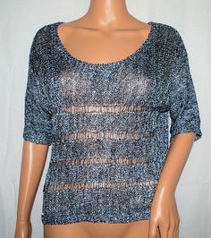 NEW OhMG Silver Sequin Short-Sleeve Scoop Neck Open-Knit Sweater Top Large L #OhMG #ScoopNeck