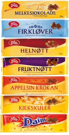 "My Norwegian friend says the Melkesjokolade bar is called something like ""little pieces of Norway."" These bars remind me of Rittersport, only they're BETTER. Melt-in-your-mouth perfection, just the thing to chuck in the backpack for a hike. (See: Preikestolen, or Pulpit Rock)"