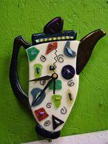 fused glass teapot clock - Darlene Maestas