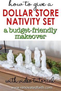 """You won't believe the before photo!  This easy step-by-step tutorial and video shows you how to give your nativity scene display a makeover with paint and a little clear glitter.  This vintage nativity scene makeover can also work on Christmas village figurines, no matter the colors.  Included are display ideas to give it a """"wood and white"""" look. Thrifted Nativity Set Makeover.  Dollar Store Nativity Scene Makeover. Elegant Christmas Decor, Simple Christmas, Christmas Decorations, Christmas Time, Christmas Ideas, White Nativity Set, Diy Nativity, Spray Painting Glass, Best Spray Paint"""
