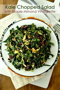 Kale Chopped Salad with Maple-Almond Vinaigrette is mind-blowingly delicious! | iowagirleats.com