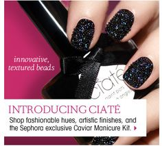 Totally gonna do this for my next black tie cocktail party with the President - Ciaté Caviar Manicure, $25