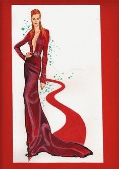 My Oscar night design for nominee Jessica Chastain- claret-wine red velvet with diamond belt accent