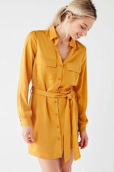 UO Button-Down Satin Shirt Dress