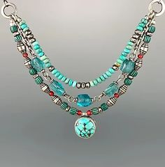 Turquoise, Trade Bead and Apatite Reversible Necklace   Shalondesigns Artisan Jewelry, Handmade Jewelry, Metal Jewelry, Precious Metals, Turquoise Necklace, Beads, Design, Beading, Handmade Jewellery