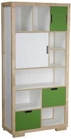 Mały regał dziecięcy EKO KIDS  Nowoczesny regał do pokoju dziecka, który poza półkami posiada drzwiczki uchylne oraz przesuwane a także dwie szuflady. Wszystkie okucia z systemem domykającym.