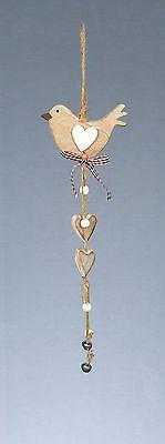 Vintage Shabby Chic Wooden Bird Hearts Christmas Hanging Ornament Decoration | eBay