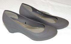 Womens crocs Lina Wedge Pump shoe W 7 W7 Standard Fit Espresso 203408 NWT #Crocs #Wedge