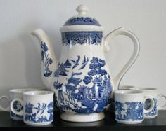 Vintage Churchill Large Coffee Pot and Six (6) Petite Flat Demitasse Cups in Blue Willow Pattern