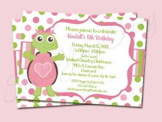 Printable Invitations Girl - Little Turtle Birthday Party Line - Stick to Your Story. $15.00, via Etsy.