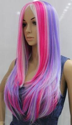 Special Rainbow Multicolor Mixed Color Fashion Elegant Long Straight Wig COS | eBay
