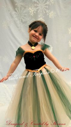 Anna Frozen Green tutu Costume, Halloween, Birthday Party, Photo Shoots, Sizes 2t up to size 6, Larger Available upon request! by FrillsandFireflies on Etsy https://www.etsy.com/listing/211315853/anna-frozen-green-tutu-costume-halloween