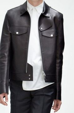 balenciaga | clean black leather jacket #mizustyle