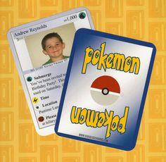 Printable POKEMON Card Invitation/Announcement - Coordinating Accessories and Full Service Printing Available. $18.00, via Etsy.