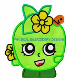 Apple Blossom Shopkins Machine Embroidery Applique Design - Whimsical Embroidery Designs