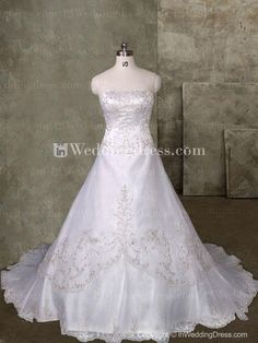 elegant a-line strapless bridal gown with embroidery