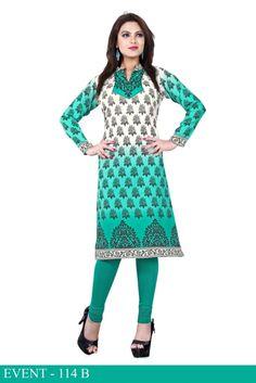 Green and White American Crepe Long Kurti - Crepe Kurtis / Tunics Manufacturer & Exporter | Kurtisindia
