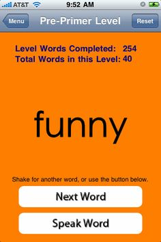 All the Dolch sight words on this app! Students can track their progress as they say each word and increase sight word fluency. Choose between random and nonrandom words. Perfect for Common Core!