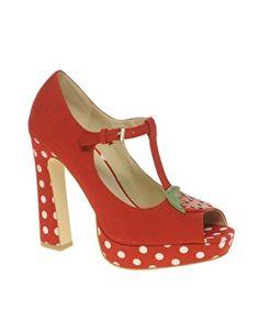 ASOS PANAMA Platform Peep Toe Shoes with Strawberry Trim  $89.21 retro fun