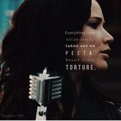 everything I say will be directly taken out on Peeta. Hunger Games Movies, Hunger Games Trilogy, Katniss And Peeta, Katniss Everdeen, Game Quotes, Movie Quotes, Saga, Hunger Games Exhibition, Hunger Games Catching Fire