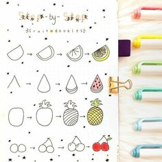 How to Draw Fruits - Step by Step Guide to Drawing Fruit Doodles Drawing of ig @ bujoabby fruit is an important le . How to Draw Fruits - Step by Step Guide to Drawing Fruit Doodles Drawing of ig @ bujoabby fruit is an important le . Bullet Journal 2019, Bullet Journal Ideas Pages, Bullet Journal Inspiration, Doodle Drawings, Easy Drawings, Fruit Doodle, Fruits Drawing, Kawaii Pens, Doodle Inspiration