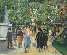 The Luxembourg Garden by Maurice Utrillo Handmade oil painting reproduction on canvas for sale,We can offer Framed art,Wall Art,Gallery Wrap and Stretched Canvas,Choose from multiple sizes and frames at discount price. Mall, Maurice Utrillo, Art Transportation, Luxembourg Gardens, Oil Painting Reproductions, Traditional Paintings, Painting Process, Paintings I Love, French Art