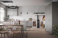 Beautiful Interior Design, Interior Design Inspiration, Home Interior, Interior Design Kitchen, Plywood Furniture, Home Decor Kitchen, Kitchen Dining, House Doctor, Grey Kitchen Designs